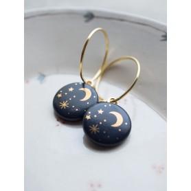 Ohrring Mond und Sterne